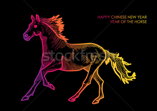 Happy Chinese New Year of horse 2014 design Stock photo © cienpies