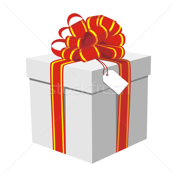 Stock photo: Gift box with red and golden ribbon