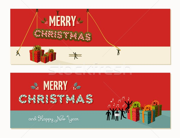 Merry Christmas teamwork cooperation Stock photo © cienpies