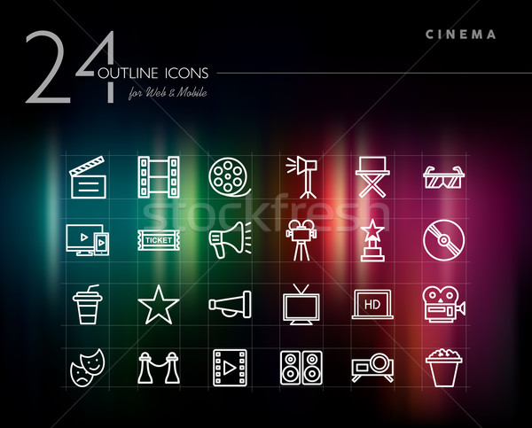 Cinema and movie outline icons set  Stock photo © cienpies