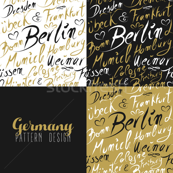 Travel germany europe berlin seamless pattern gold Stock photo © cienpies