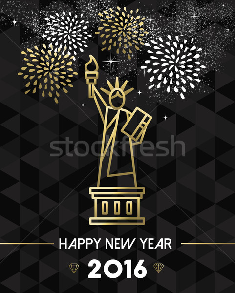 New Year 2016 NYC USA travel statue liberty gold Stock photo © cienpies