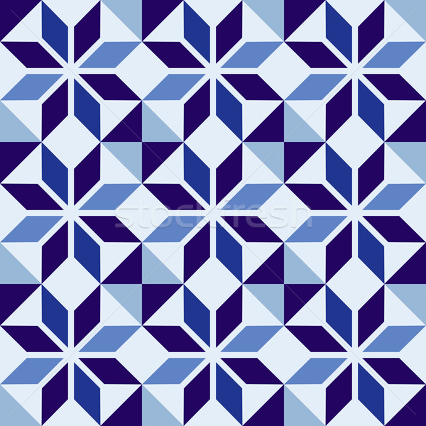 Traditional Portuguese blue mosaic tile pattern Stock photo © cienpies
