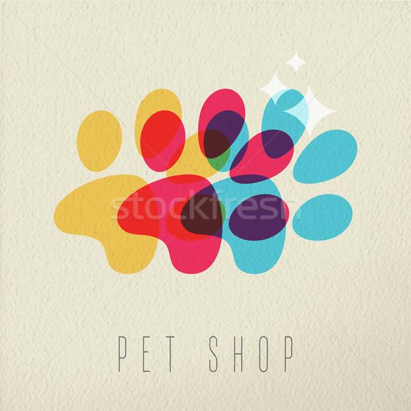 Pet shop color dog paw concept illustration Stock photo © cienpies