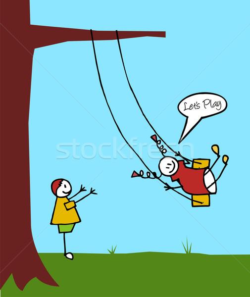 Kids swinging in the garden Stock photo © cienpies