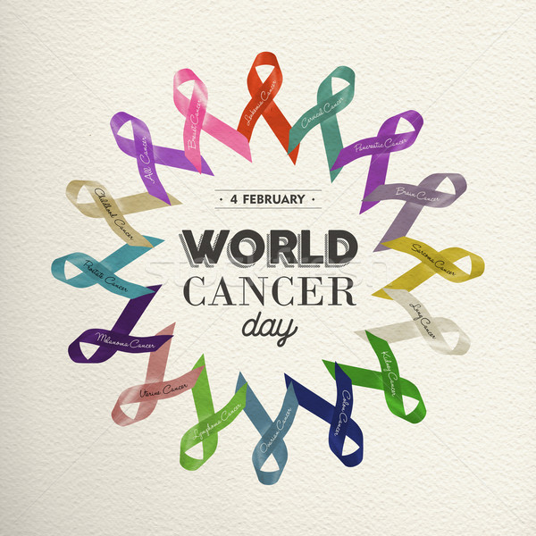 World cancer day design with awareness ribbons Stock photo © cienpies