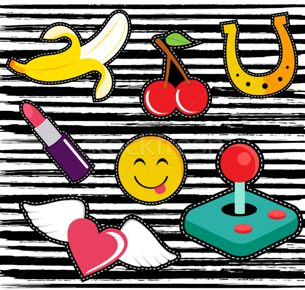 Cute cartoon set of patches or stickers  Stock photo © cienpies