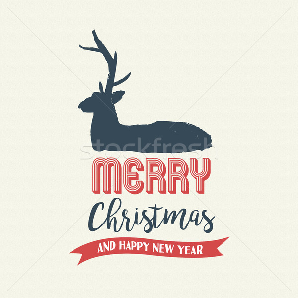 Christmas text quote calligraphy deer illustration Stock photo © cienpies