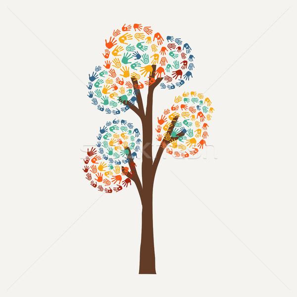 Foto stock: Mão · imprimir · árvore · comunidade · ajudar · símbolo