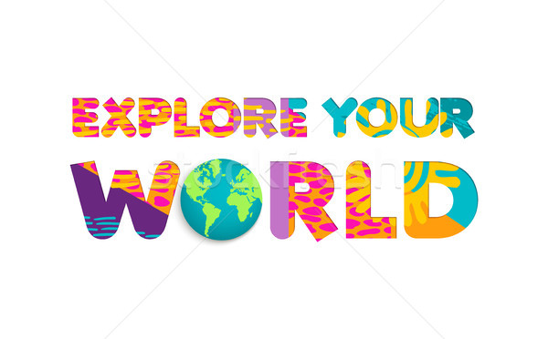 Explore the world summer travel color cutout quote Stock photo © cienpies