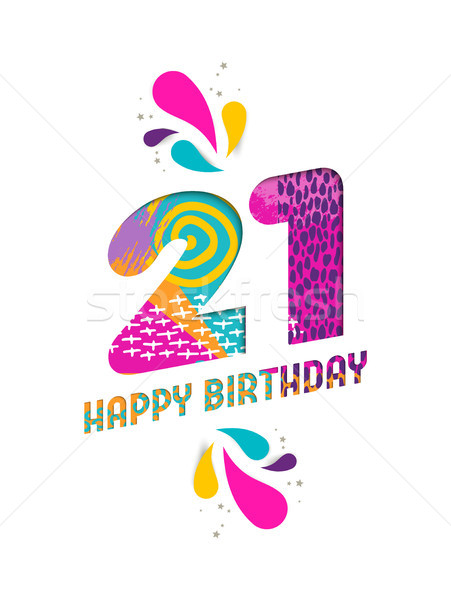 Happy birthday 21 year paper cut greeting card Stock photo © cienpies