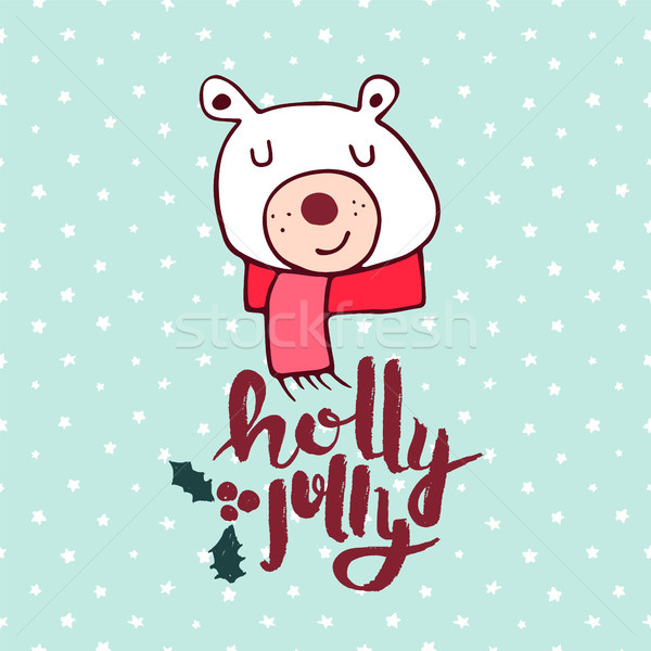 Christmas cute holiday polar bear cartoon card Stock photo © cienpies