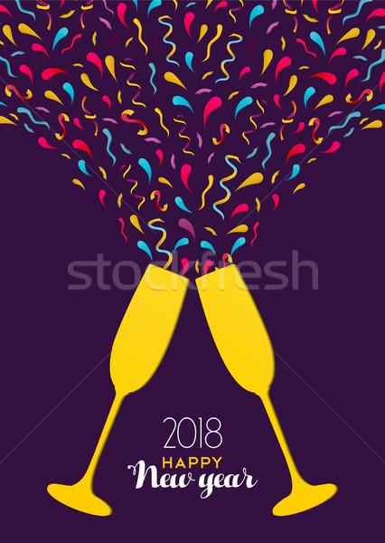 Nieuwjaar kleur partij drinken glas toast Stockfoto © cienpies