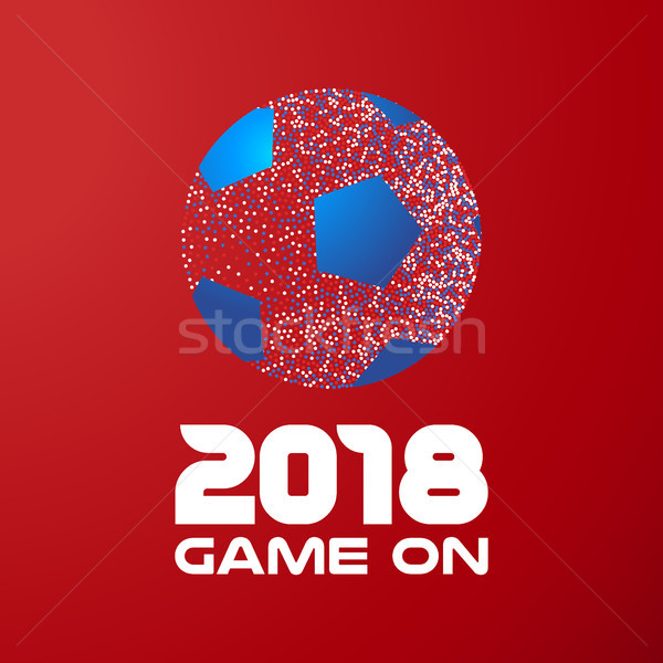 Soccer ball on red background with 2018 quote Stock photo © cienpies