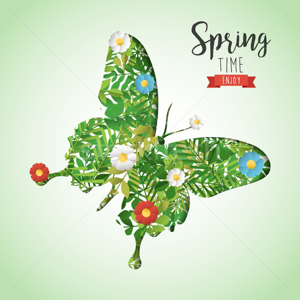 Spring time butterfly paper cutout greeting card Stock photo © cienpies