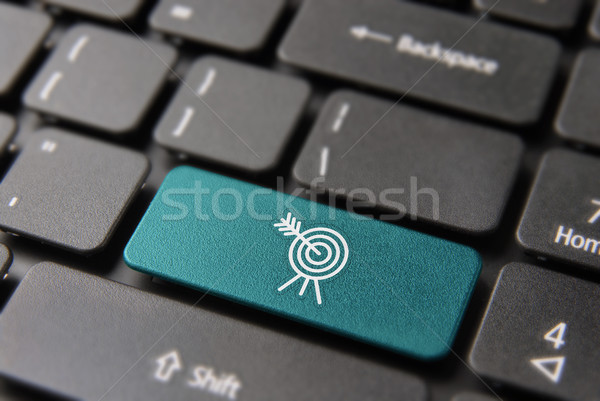 Business target button on computer keyboard Stock photo © cienpies