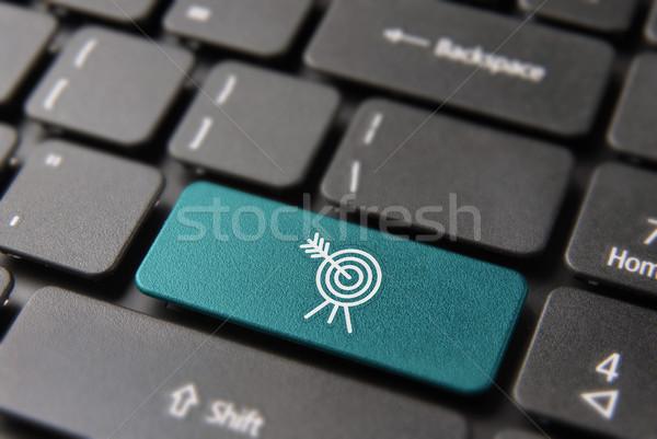 Stok fotoğraf: Iş · hedef · düğme · bilgisayar · klavye · İş · stratejisi · başarı