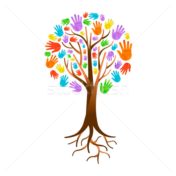Color hand tree for diverse community help  Stock photo © cienpies