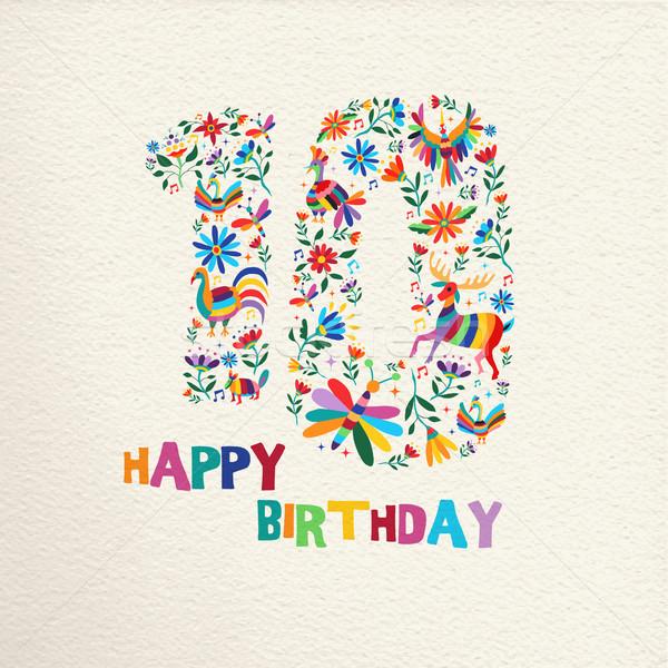 Happy birthday 10 ten years flower decoration Stock photo © cienpies