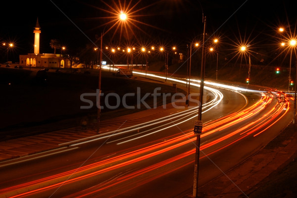 Cars at night with motion blur Stock photo © cienpies
