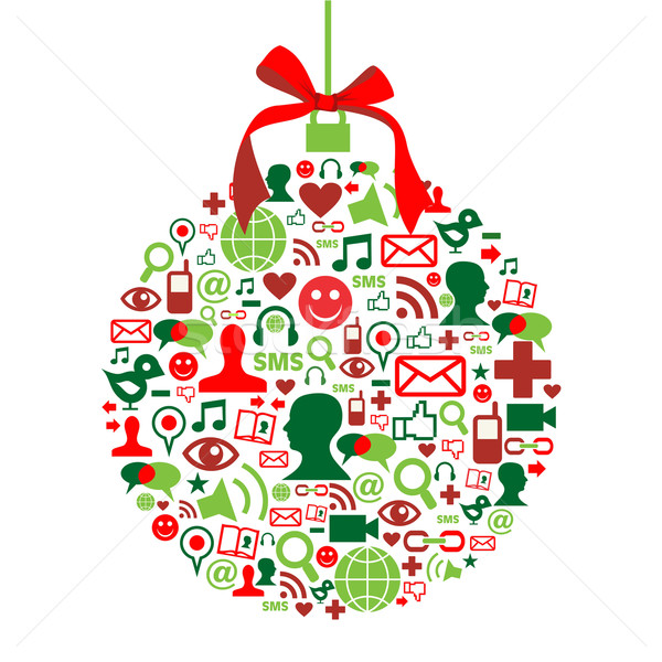 Stock photo: Christmas bauble with social media icons