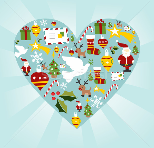 Christmas icon set in heart shape Stock photo © cienpies