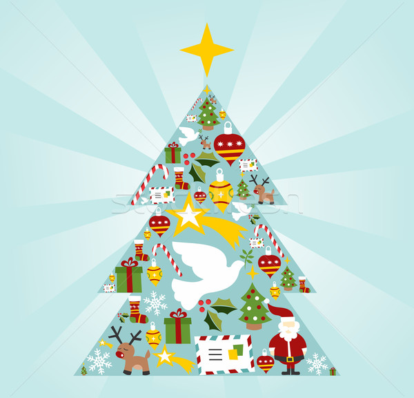 Christmas icon set in season tree shape Stock photo © cienpies
