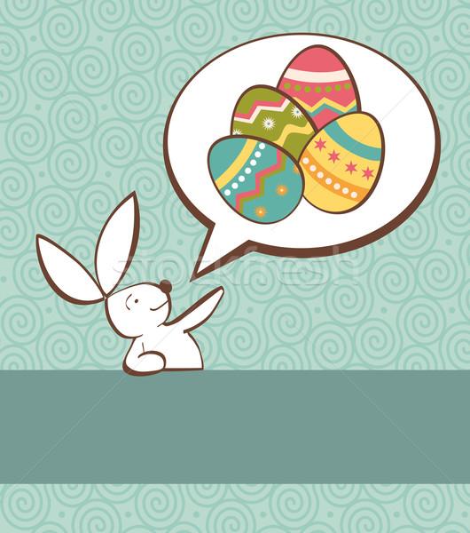 Társasági húsvéti nyuszi színes tojás egy festett tojások Stock fotó © cienpies