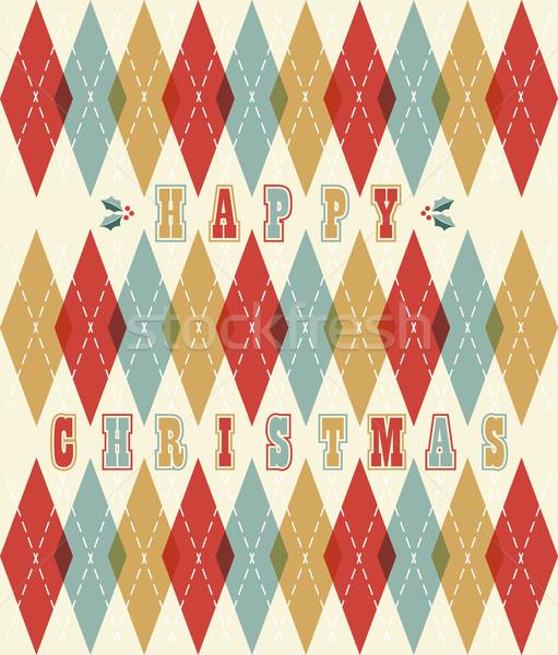 Happy christmas retro geometric pattern Stock photo © cienpies