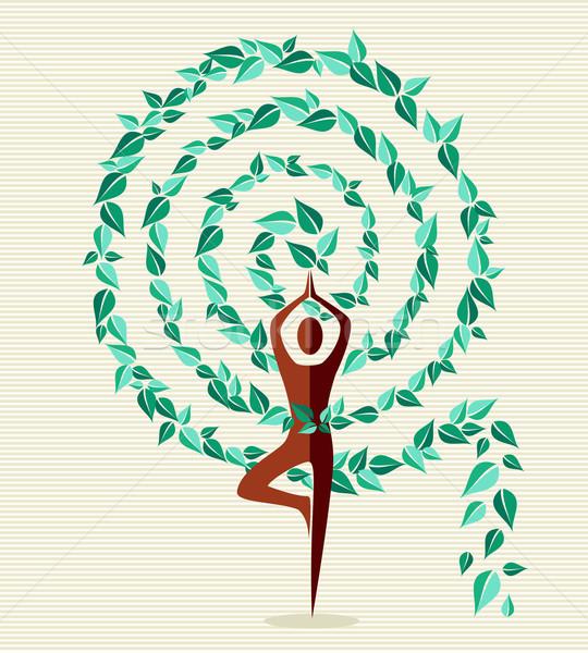 India jóga levél fa spirál forma Stock fotó © cienpies