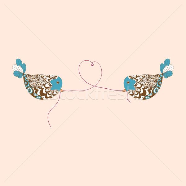 Oiseaux amour coeur Valentin jour illustration Photo stock © cienpies