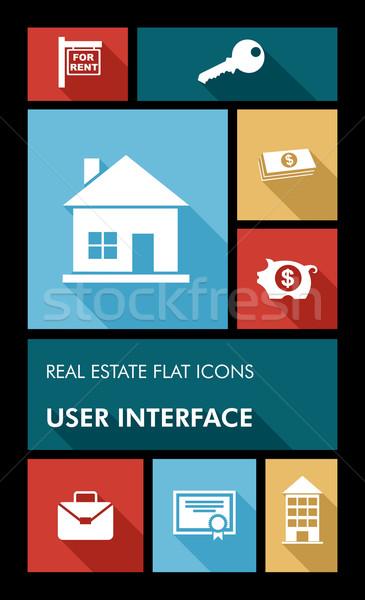 カラフル 不動産 ui アプリ ユーザー インターフェース ストックフォト © cienpies