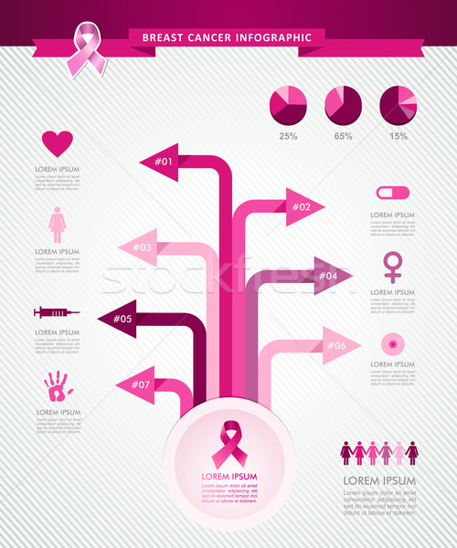 Breast cancer awareness ribbon tree infographics template EPS10  Stock photo © cienpies