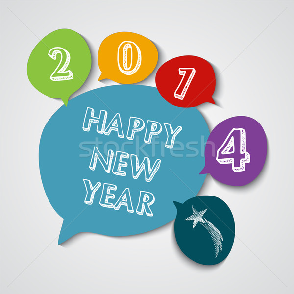 Happy New Year 2014 social bubble colors Stock photo © cienpies
