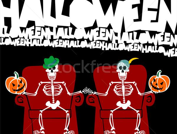 Halloween skeleton couple. Funny greeting card Stock photo © cienpies