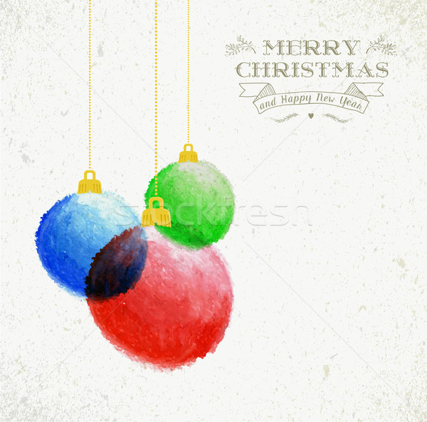 Christmas oil pastel baubles hand drawn illustration Stock photo © cienpies