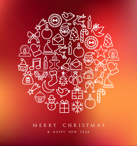 Alegre Navidad círculo tarjeta tarjeta de felicitación Foto stock © cienpies