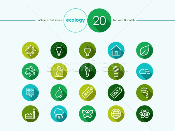 Ecology and go green flat icons set Stock photo © cienpies