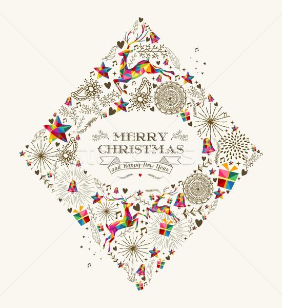 Vintage Christmas diamond greeting card Stock photo © cienpies