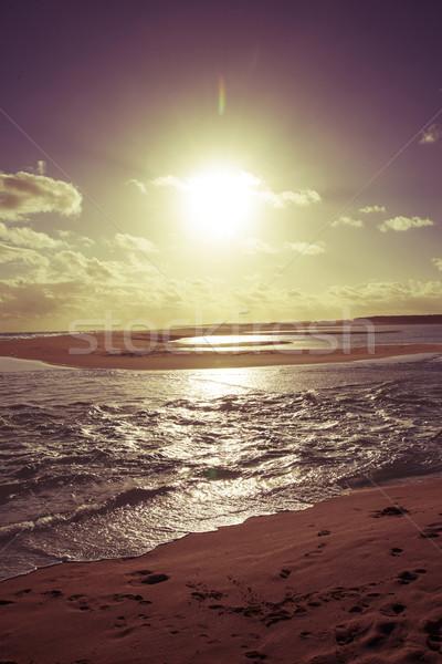 Vintage sunny Sunset beach sea shore landscape Stock photo © cienpies