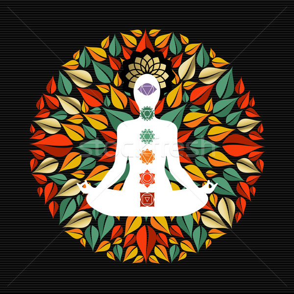 Nature mandala with yoga pose and chakra icons Stock photo © cienpies
