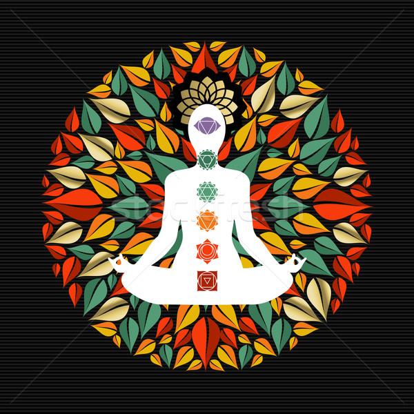 Természet mandala jóga póz csakra ikonok fa Stock fotó © cienpies