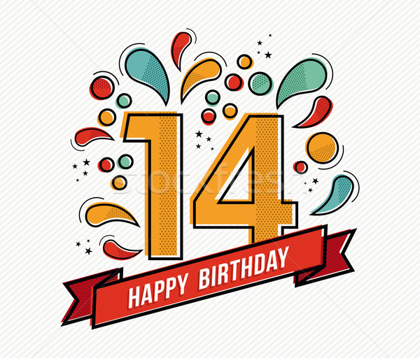Colorful happy birthday number 14 flat line design Stock photo © cienpies