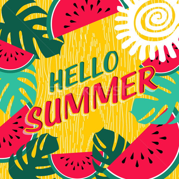 Hello summer vacation poster with fruit nature art Stock photo © cienpies