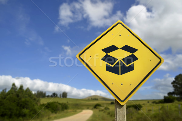 Package delivery road sign concept open box icon Stock photo © cienpies