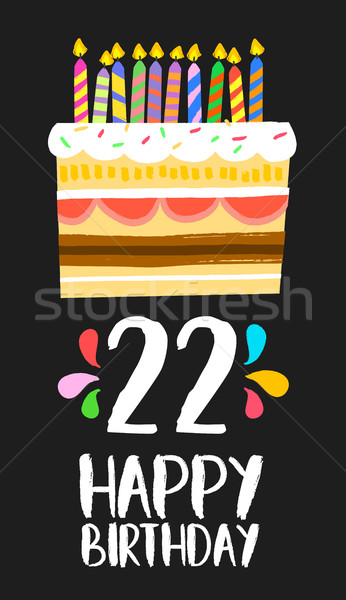 Happy Birthday cake card 20 twenty two year party Stock photo © cienpies