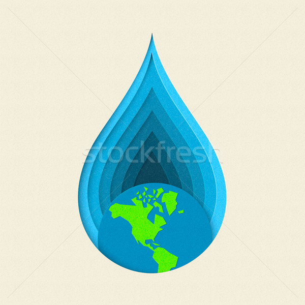 Earth day paper cut water drop concept art Stock photo © cienpies