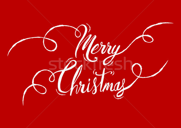 Merry Christmas hand drawn red quote greeting card Stock photo © cienpies