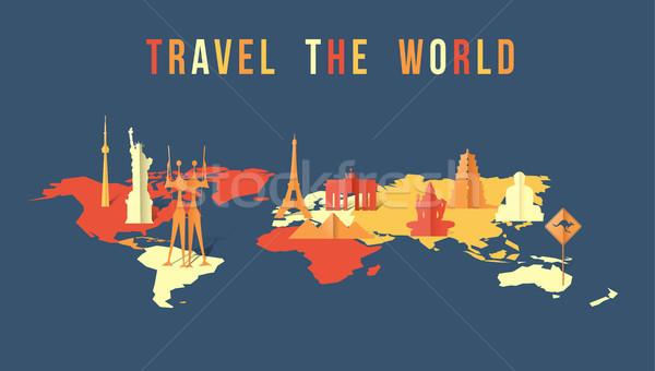 Travel the world paper cut landmark map design Stock photo © cienpies
