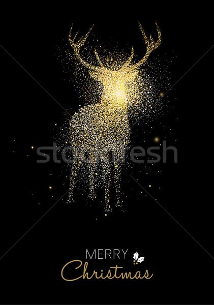 Neşeli Noel altın parıltı geyik tatil Stok fotoğraf © cienpies